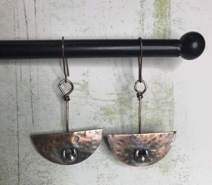 Copper & Sterling Pendulum Earrings