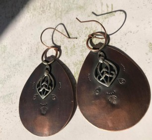 Copper & Sterling Teardrop Earrings