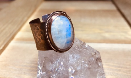 Moonstone Moon ring